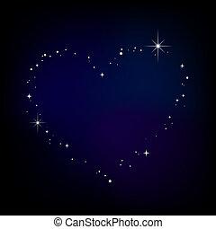 星, 心, 在, 夜晚天空