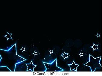 星, 抽象的, ネオン, イラスト, バックグラウンド。, ベクトル, グロッシー