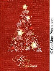 星, 木は つく, 装飾, year., 陽気, 新しい, 飾られる, クリスマス, balls., 幸せ