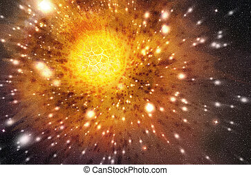 星, 爆発する, 外の, 背景, スペース