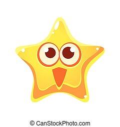 星, 特徴, 黄色の額面, 感情的, 漫画, 驚かされる, 幸せ