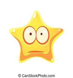 星, 特徴, 黄色, 悲しい, 感情的, 顔, 漫画, 心配しなさい