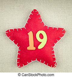 星, 生地, 木製である, 型, 数, 19, 背景, 赤