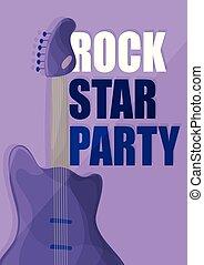 星, 背景, 紫色, ポスター, -, ギター, 音楽, テンプレート, 岩, パーティー