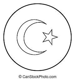 星, 色, コーナー, シンボル, イラスト, 単純である, ベクトル, 5, 三日月, 黒, イスラム教, イメージ,...