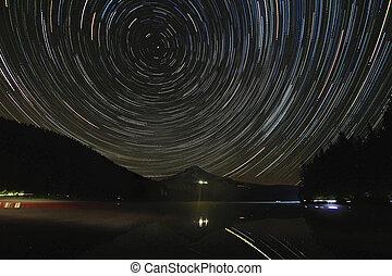 星 足跡, 建立, 湖, trillium, 在上方, 敞篷