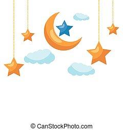星, 雲, 月