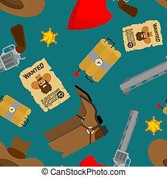 星, 靴, 保安官, カウボーイ, seamless., パターン, 銃, バックグラウンド。, 西, 西部, boots., 野生, 帽子, handkerchief.