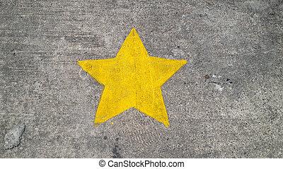 星, 黄色, コンクリート, 手ざわり, 背景, 絵