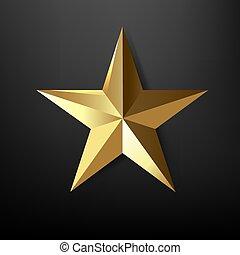 星, 黒, 金 背景, 隔離された