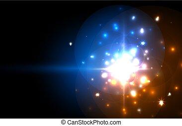 星, design., バックグラウンド。, 青, 贅沢, 抽象的, 背景, 祝福, ネオン, お祝い