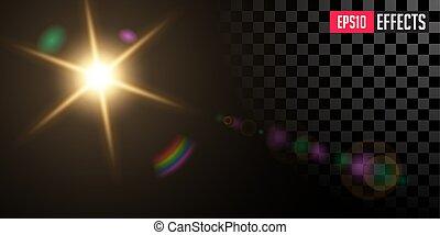 星, effect., 火炎信号, レンズ, ベクトル, sun., ライト, 透明, 特別
