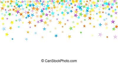 星, falling., お祝い, カーニバル, confetti., 虹
