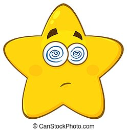 星, hypnotized, 特徴, 黄色の額面, ぼう然とさせられた, 表現, 漫画, emoji