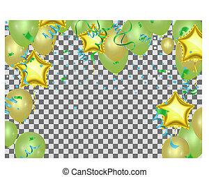 星, illustration., 形づくられた, 隔離された, 光っていること, 現実的, ベクトル, 背景, 掛かること, 紙ふぶき, 白, 風船, 透明, 蛇紋岩