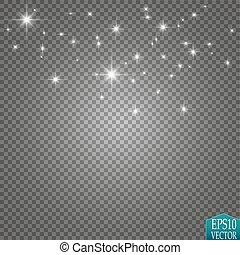 星, illustration., 道, 隔離された, 光っていること, 波, 微片, バックグラウンド。, ベクトル...