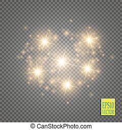 星, illustration., 金, 道, 隔離された, 光っていること, 波, 微片, バックグラウンド。, ...