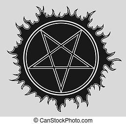 星, pentagram, bakcground, 黒, ベクトル, アイコン