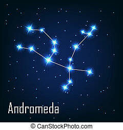 """, 星, sky., 插圖, andromeda"", 矢量, 夜晚, 星座"