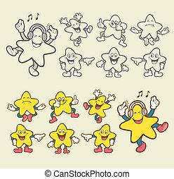 星, smiley, 特徴, 漫画, アイコン