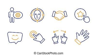 星, touchscreen, 微笑, ジェスチャー, ベクトル, 顔, set., 検出しなさい, signs., 忠誠, 握手, はめば歯車, 顔, アイコン