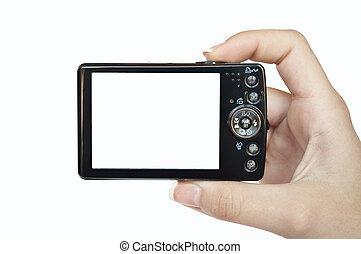 映像, あなたの, スペース, テキスト, -, 手, カメラ, 後部, 保有物, デジタル, ∥あるいは∥, 空, 光景