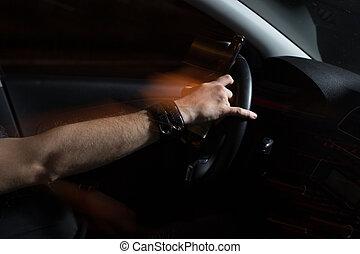 映像, ∥そうする∥, キャンペーン, 酔った, これ, 自動車, 飲みなさい, ドライブする, 若い, びん, beer., ドライブしなさい, 人