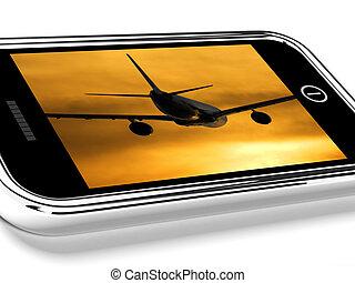 映像, ∥に向かって∥, モビール, 飛行, 電話, 日没, 飛行機