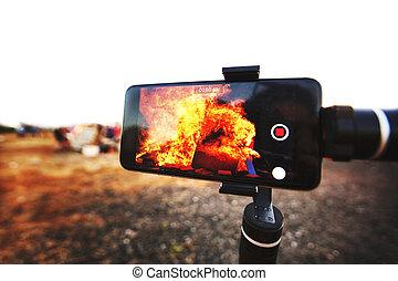 映像, イスラエル, le, お祝い, モビール, zion, 取得, 遅れ, baomer, 電話, rishon, たき火
