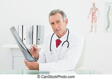 映像, オフィス, 肺, 医者, 確信した, x 線