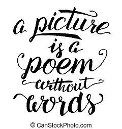映像, カリグラフィー, なしで, 言葉, 詩