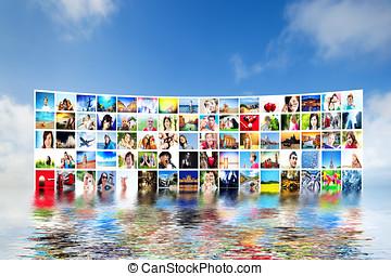 映像, ディスプレイ, 上に, 広く, モニター, screens., マルチメディア, 放送, 上に, 青い空