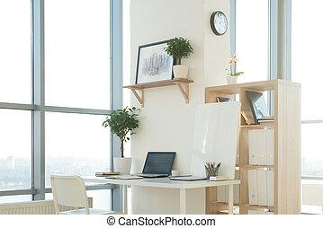 映像, デザイナー, オフィス。, 仕事, laptop., 快適である, ノート, スタジオ, 仕事場, ブランク, 家, サイドテーブル, 光景