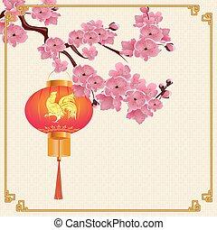 映像, ブランチ, 中国語, 紫色, さくらんぼ, flowers., イラスト, 火, 形, ランタン, 赤, 花, 掛かること, ラウンド, rooster., frame.