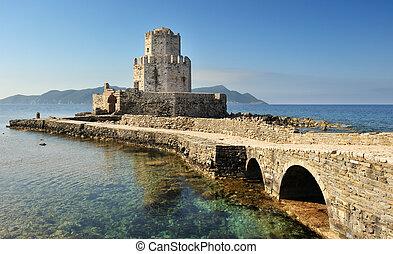 映像, 中世, methoni, 南, それ, 伸びる, sea., ギリシャ, 城, watchtower