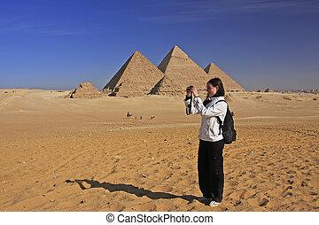 映像, 偉人, 観光客, ギザ, カイロ, 取得, ピラミッド