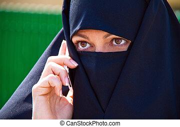 映像, 女, ベールで覆われる, islam., muslim, burqa., 例