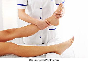 映像, 女, 療法, 持つこと, 足
