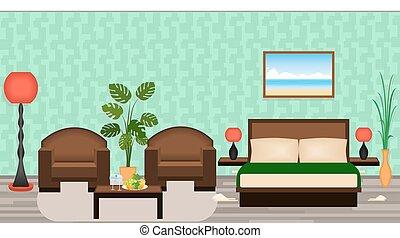 映像, 家具, 部屋, ホテル, houseplants, 優雅である, 内部, ランプ