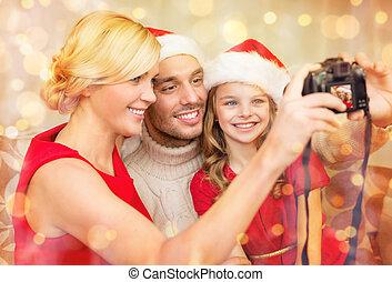 映像, 家族, ヘルパー, 帽子, santa, 微笑, 取得