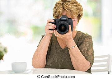 映像, 年長の 女性, 射撃