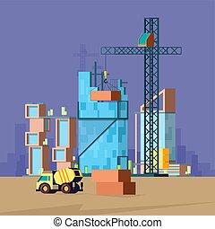 映像, 建物, ベクトル, flat., 家, 建築者, poly, 生産, 低い, 建設, 風景