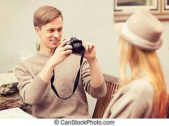 映像, 恋人, カフェ, 写真を取ること