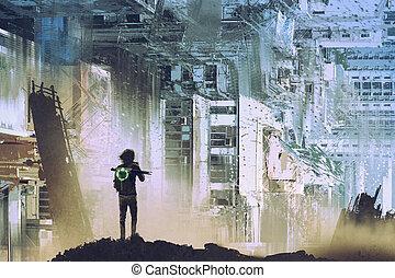 映像, 抽象的, 旅行者, 取得, 都市
