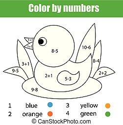 映像, 教育, 着色, 色, game., 子供, duck., 解決しなさい, 数学, 方程式, ページ