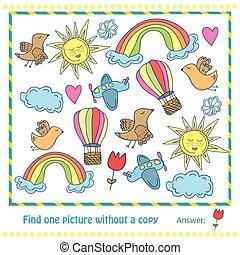 映像, 教育, withuot, -, イラスト, 子供, ゲーム, コピー, ファインド