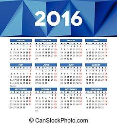 映像, 月曜日, 始める, ヘッダー, デザイン, テンプレート, カレンダー, 2016