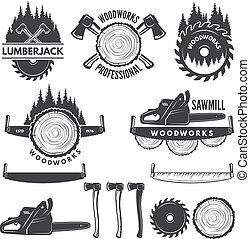 映像, 木, モノクローム, 産業, セット, ラベル, lumberjack