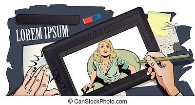 映像, 気絶させられた, tablet., 手, girl., ペンキ