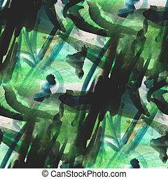 映像, 水彩画, seamless, 青緑, 背景